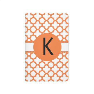 Carnet De Poche Motif orange de Quatrefoil de monogramme