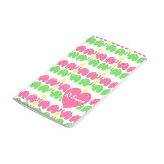 Carnet De Poche Motif rose et vert d'éléphant avec le nom