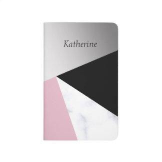 Carnet De Poche Noir rose de marbre blanc argenté géométrique