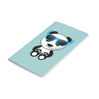 Carnet De Poche Ours panda frais et mignon avec des lunettes de