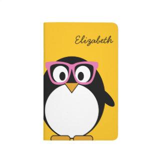 Carnet De Poche Pingouin de hippie - rose mignon de jaune de bande