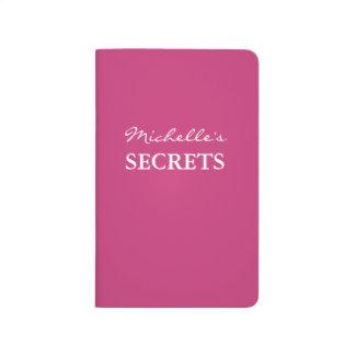 Carnet De Poche Secret rose au néon nommé personnalisé de couleur