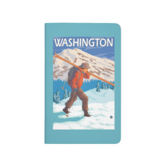 Carnet De Poche Skis de transport de neige de skieur - Washington