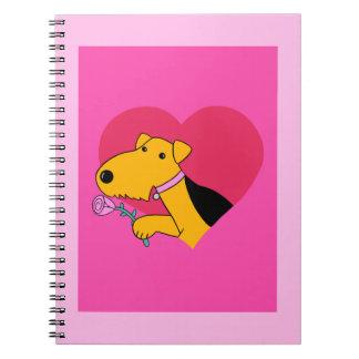 Carnet de Saint-Valentin de chien d'Airedale