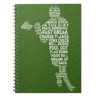 Carnet de typographie de joueur de lacrosse