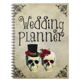 Carnet de wedding planner de crâne de jeune mariée