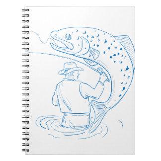 Carnet Dessin de pêche de truite de pêcheur de mouche