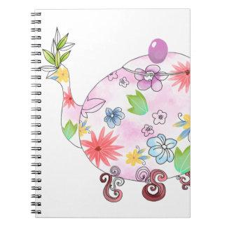 Carnet Dessin fleurissant d'illustration de pot de thé