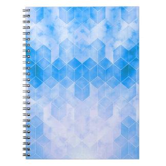 Carnet Dessin géométrique de cube bleu