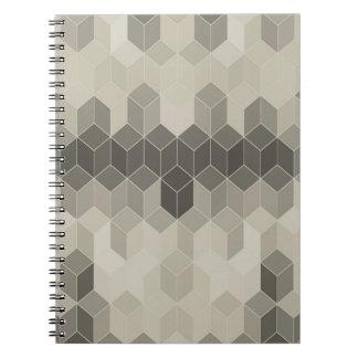 Carnet Dessin géométrique de cube en gamme de gris