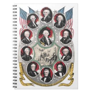 Carnet Dix premiers Présidents des États-Unis