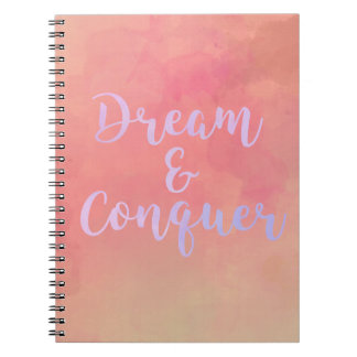 Carnet Dream And Conquer Girly Watercolor Notebook