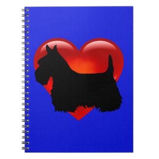 Carnet Écossais coeur de Terrier arc noirs/blancs de