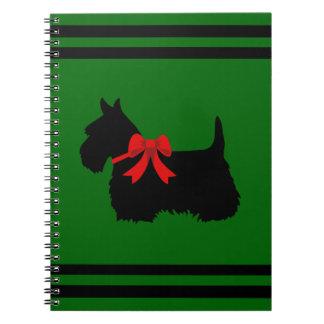 Carnet Écossais vert de Terrier nom noirs/blancs de