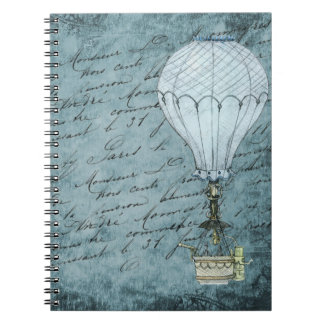 Carnet Écriture chaude bleue de Steampunk de ballon à air