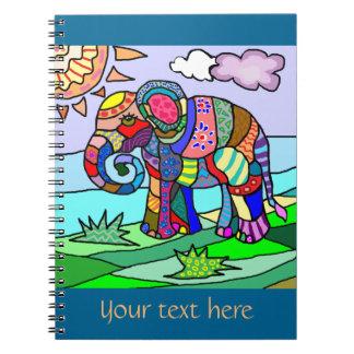 Carnet Éléphant artistique de floclore coloré fait sur