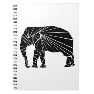 Carnet Éléphant noir géométrique