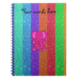 Carnet Éléphant rose de parties scintillantes avec des