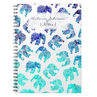 Carnet Éléphants d'aquarelle de mandala de turquoise de