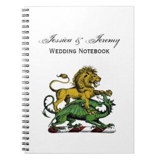 Carnet Emblème héraldique de crête de lion et de dragon