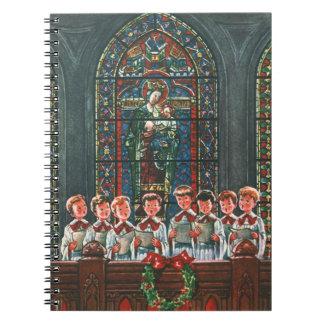 Carnet Enfants vintages de Noël chantant le choeur dans