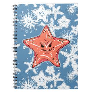 Carnet Étoiles de mer rouges drôles avec un sourire