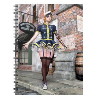 Carnet Femme de Steampunk avec le bras mécanique