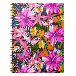 Carnet Feuille et fleurs tropicaux
