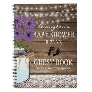 Carnet Ficelle du Guestbook pourpre | de baby shower de