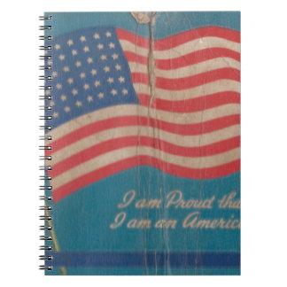 Carnet Fier vintage d'être copie patriotique américaine