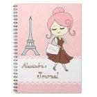 Carnet Fille Girly de Tour Eiffel chic et à la mode de Pa