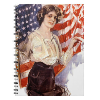 Carnet fille vintage de drapeau américain