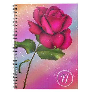 Carnet Floral en pastel d'arc-en-ciel rose rose