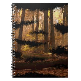 carnet frais artistique de peinture de forêt de