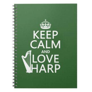 Carnet Gardez le calme et aimez l'harpe (toute couleur
