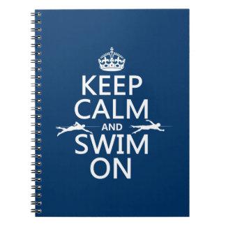 Carnet Gardez le calme et nagez sur (dans toute couleur)