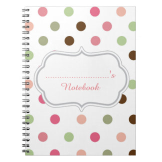 Carnet Girly, en pastel, rose, vert, Brown, pois