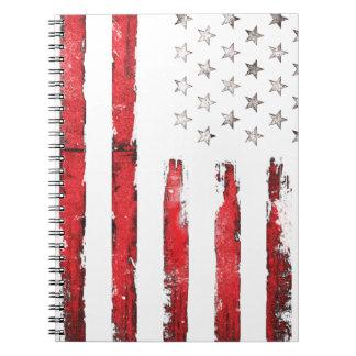Carnet Grunge ROUGE vintage de drapeau américain