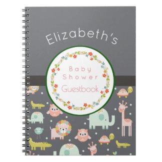 Carnet Guestbook de baby shower de motif d'animaux de