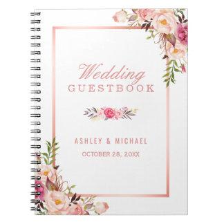 Carnet Guestbook de mariage - rose rose élégant d'or