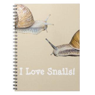 Carnet J'aime la conception d'escargot d'escargots