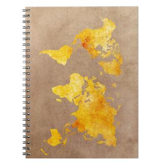 Carnet jaune de carte du monde