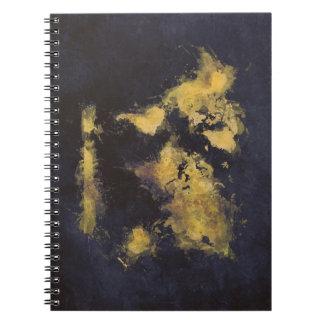 Carnet jaune de noir de carte du monde