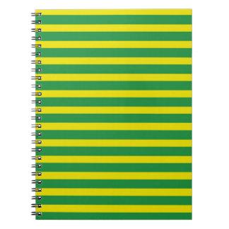 Carnet jaune et vert de rayures
