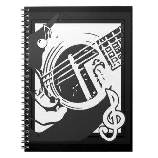 Carnet Jeu de guitare de mélomane noir et blanc