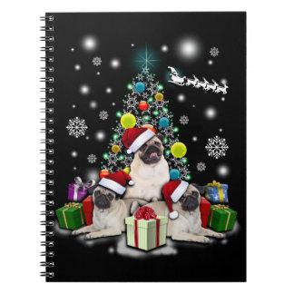 Carnet Joyeux Noël avec l'animal de chien de carlin