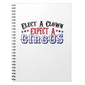 Carnet L'Anti-Atout drôle élisent un clown - attendez un