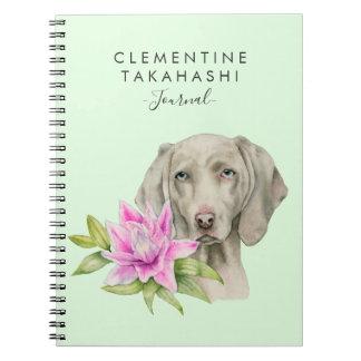 Carnet L'aquarelle | de chien et de lis de Weimaraner