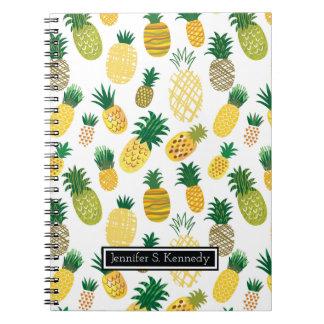 Carnet Le motif à la mode   d'ananas ajoutent votre nom