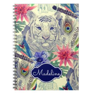Carnet Le motif indien vintage   de tigre de style